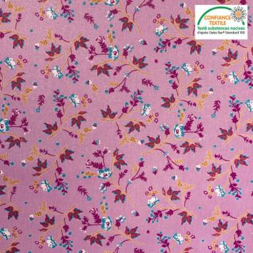 Popeline de coton mauve motif fleuri automnal Oeko-tex