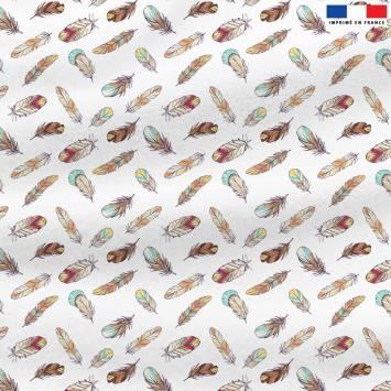 Polaire blanche motif plume boho