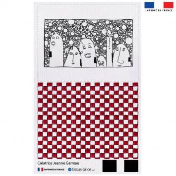 Kit pochette canvas motif carreaux rouge et blancs - Création Jeanne Garreau