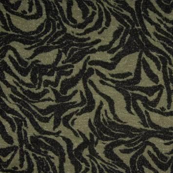 Lainage fin noir et kaki brillant motif zébré