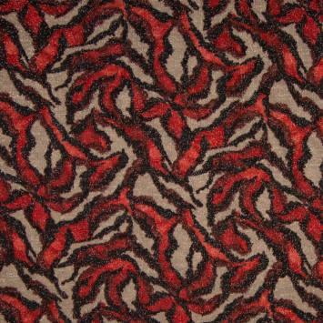 Lainage fin noir et rouge brillant motif jungle