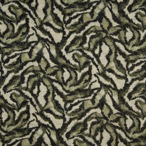 Lainage fin noir et kaki brillant motif jungle