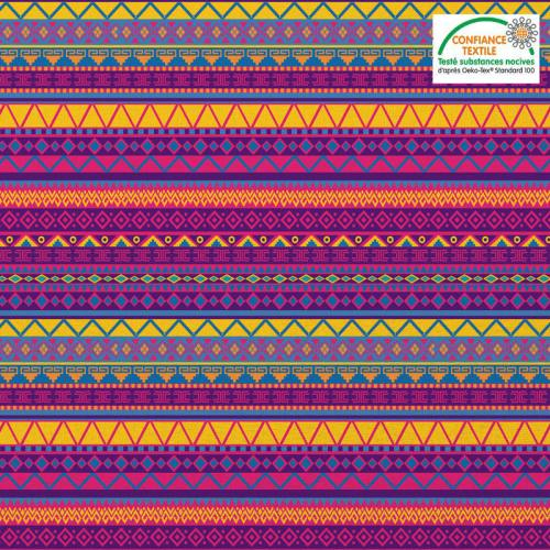 Coton multicolore motif ethnique mexicain Oeko-tex