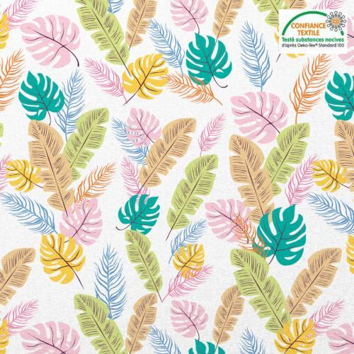 Coton blanc motif feuille tropicale rose verte jaune Oeko-tex