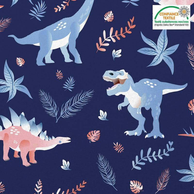 Coton bleu marine motif dinosaure et feuilles Oeko-tex