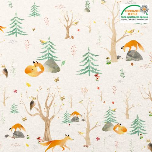 Coton blanc saumoné motif renard et forêt Oeko-tex