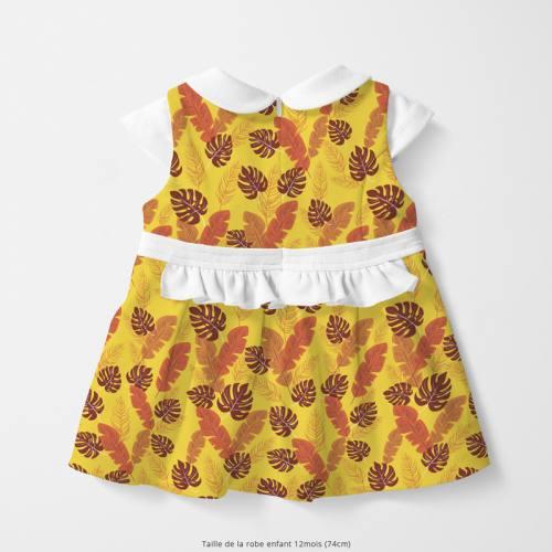 Coton jaune motif feuille tropicale marron et orange Oeko-tex