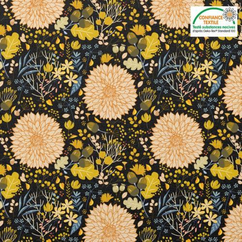 Coton chocolat motif feuille d'automne Oeko-tex