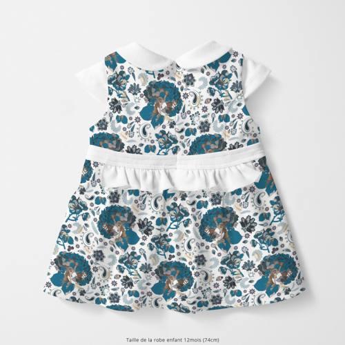Coton blanc motif tableau floral bleu Oeko-tex