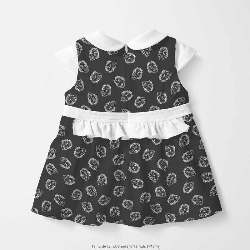 Coton noir motif einstein Oeko-tex