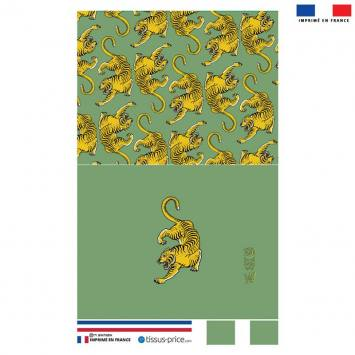 Kit pochette vert motif tigre ocre - Création Lou Picault