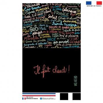 Kit pochette noir motif Il Fait Chaud ! - Création Lou Picault