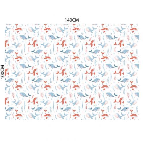 Polaire blanche motif baleine bleue et rouge