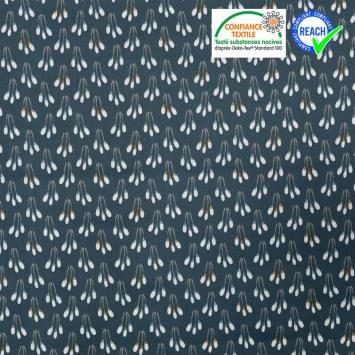 Coton enduit bleu canard motif fleurs ocre papluma
