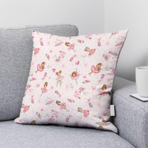 Coton rose pâle motif ballerina Oeko-tex