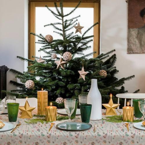 Coton lin motif merry christmas Oeko-tex