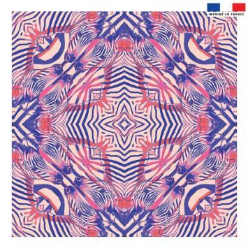 Coupon 45x45 cm rose motif zèbre symétrique rose - Création Lou Picault