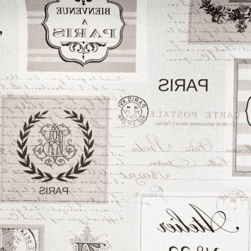 Toile cirée lin motif carte postale