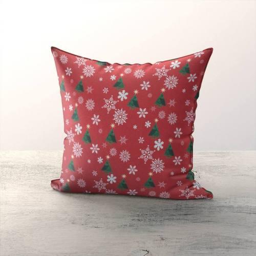 Noël sapin et flocons - Fond rouge