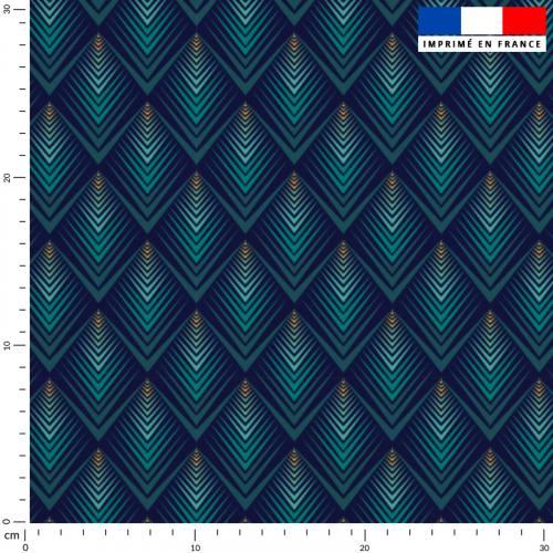 Losange art déco émeraude - Fond bleu