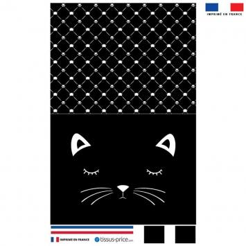 Kit pochette velours ras noir motif chat