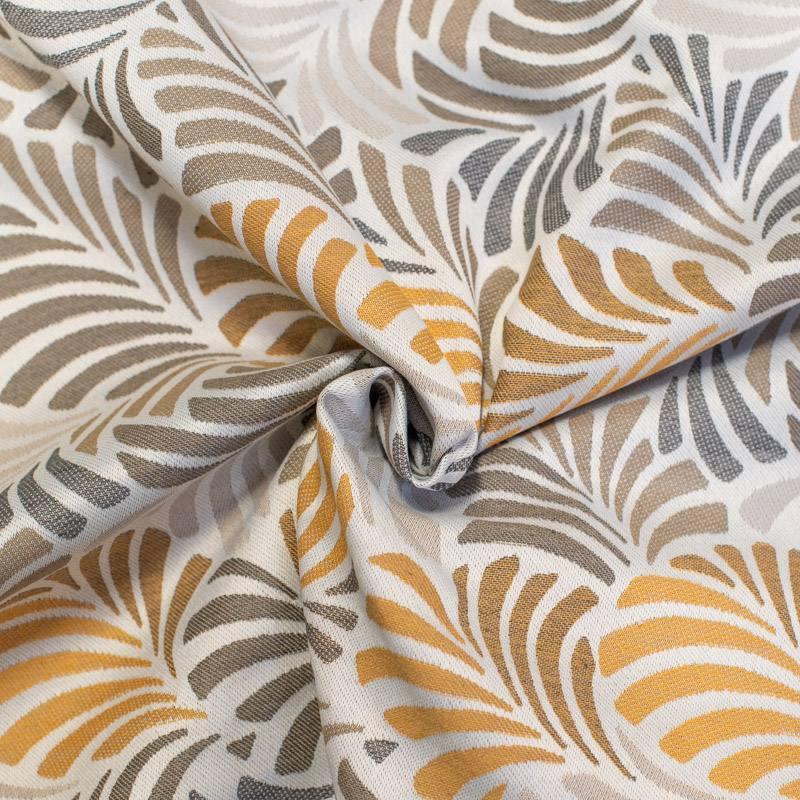 Jacquard écru motif feuille ocre janis grande largeur