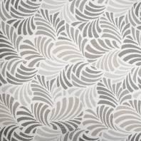 Jacquard écru motif feuille gris janis grande largeur
