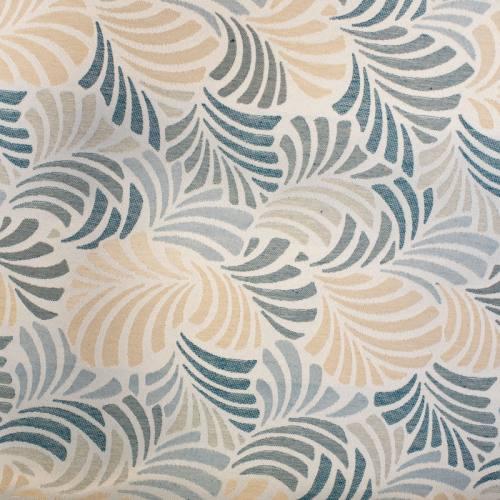 Jacquard écru motif feuille bleu paon janis grande largeur