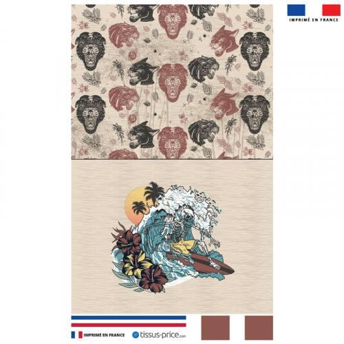 Kit pochette canvas beige motif hawaï