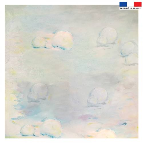 Coupon 45x45 cm motif escargot de Noël - Fond - Création Véronique Baccino