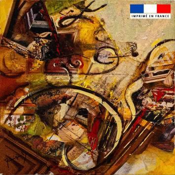 Coupon 45x45 cm motif Mélopée ambrée - Création Monique.D