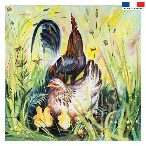 Coupon 45x45 cm motif coq - Création Véronique Baccino
