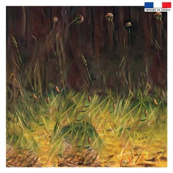 Coupon 45x45 cm motif prairie - Création Véronique Baccino