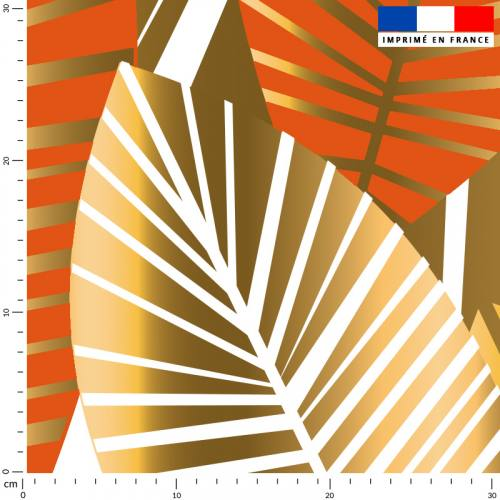 Feuilles art déco orange et or - Fond écru