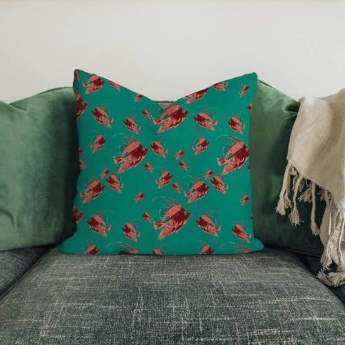 Poisson orange - Fond vert émeraude