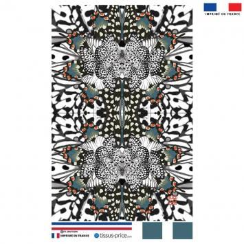 Kit pochette motif papillon bleu et orange - Création Lou Picault