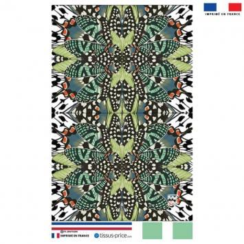 Kit pochette motif papillon orange et vert - Création Lou Picault