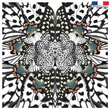 Coupon 45x45 cm motif papillon bleu et orange - Création Lou Picault