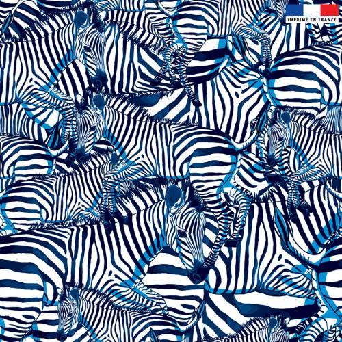 Velours blanc motif zèbre bleu - Création Lou Picault