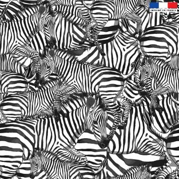 Velours ras blanc motif zèbre noir - Création Lou Picault