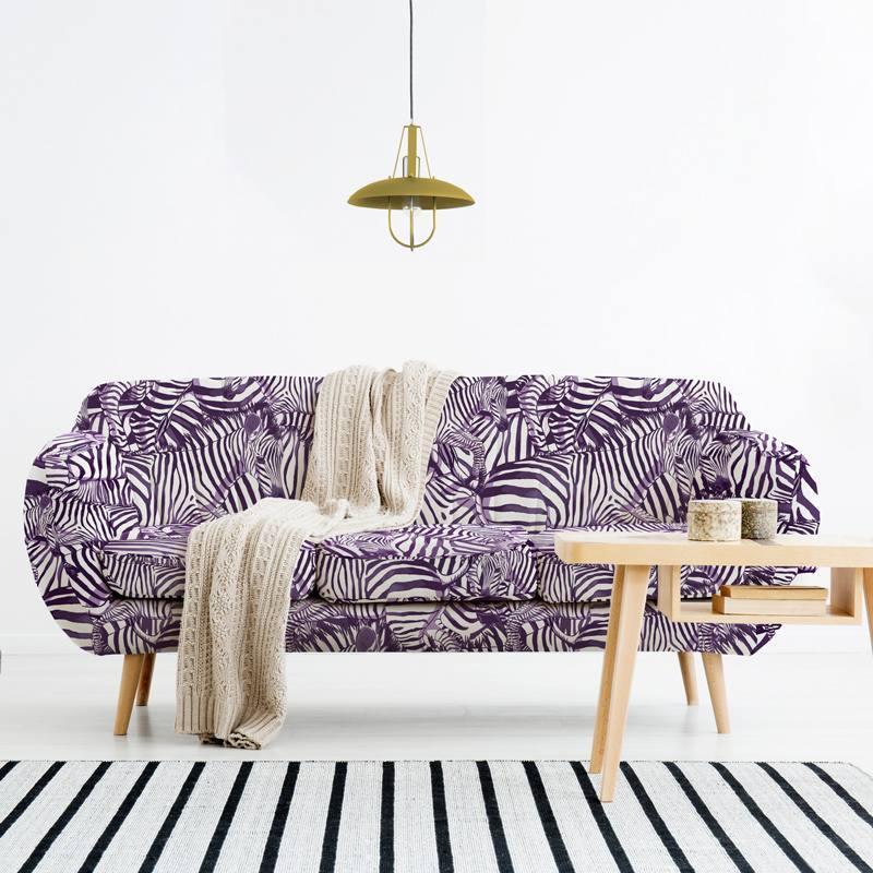 Velours ras blanc motif zèbre violet - Création Lou Picault