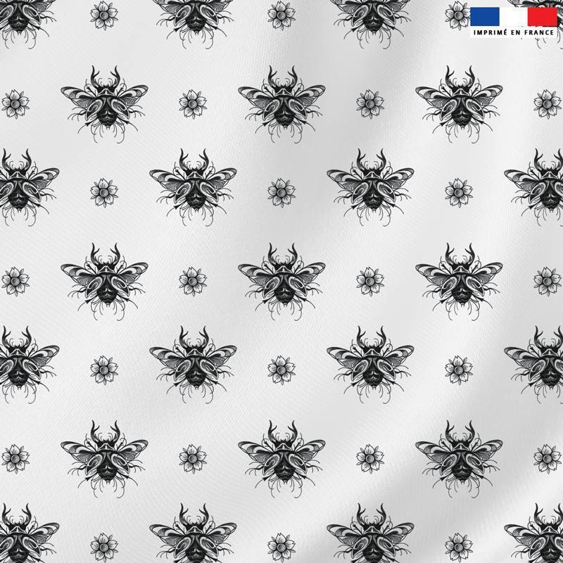 Velours blanc motif papillon scarabée - Création LAB6