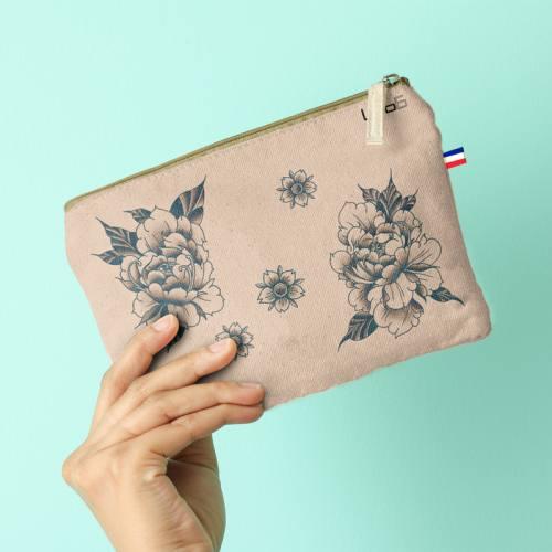 Kit pochette motif fleur effet tattoo - Création LAB6