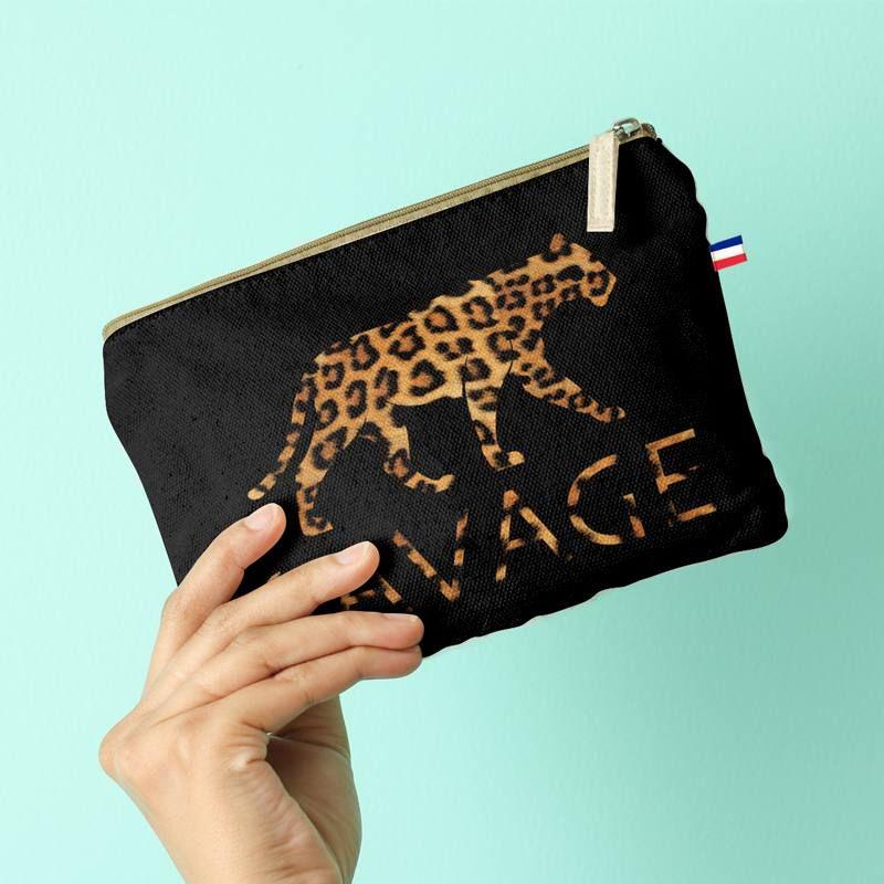 Kit pochette velours ras noir imprimé léopard