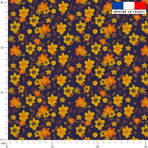 Fleur seventies jaune - Fond aubergine