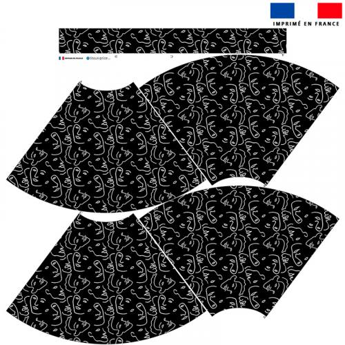 Kit Jupe Mi-Genoux - Dessin visage au trait continu