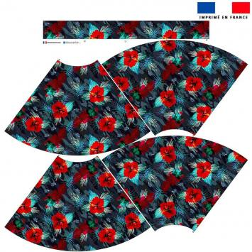 Kit Jupe Mi-Genoux - Camouflage et fleur rouge