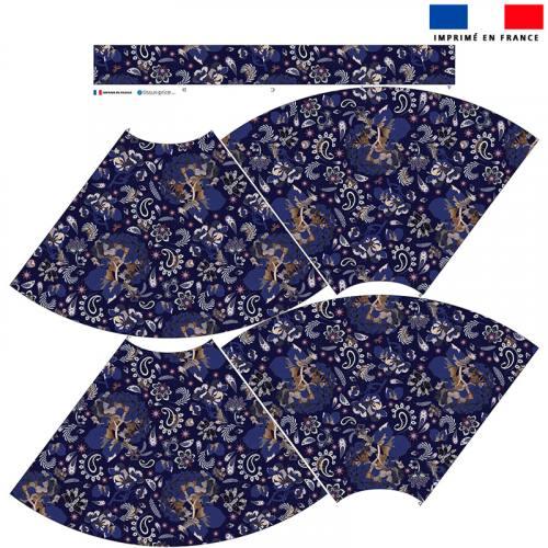 Kit Jupe Mi-Genoux - Tableau floral bleu