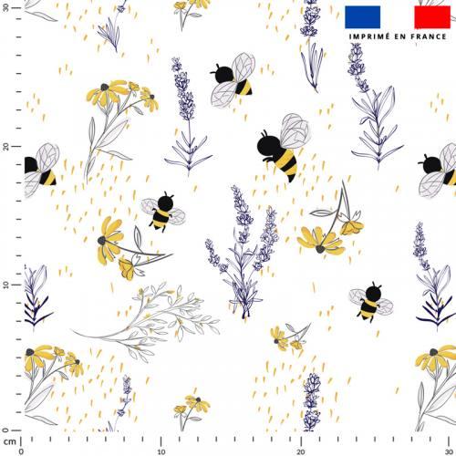 Bouton d'or lavande et abeille - Fond écru