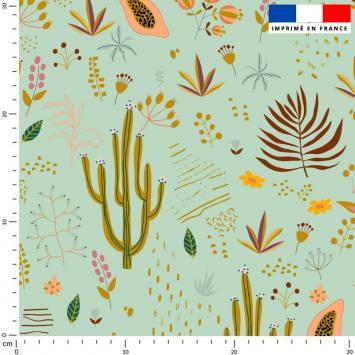 Cactus et fruit de la passion - Fond vert d'eau
